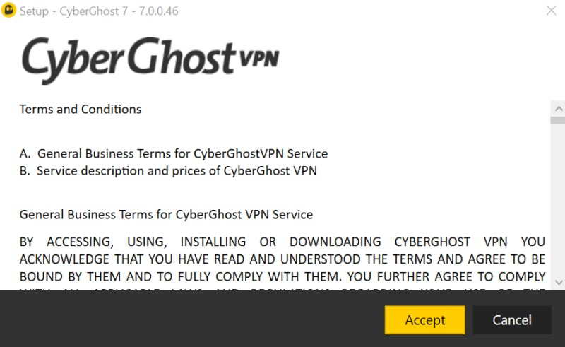 CyberGhost  terms and conditions