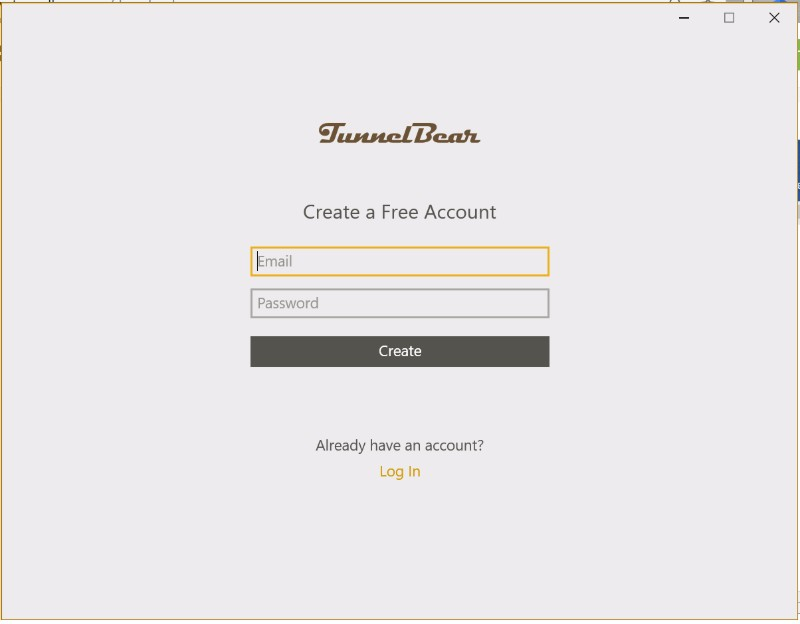 TunnelBear VPN app make account