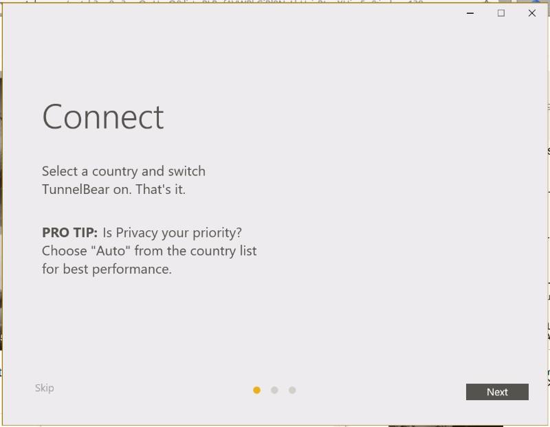 TunnelBear VPN app set up