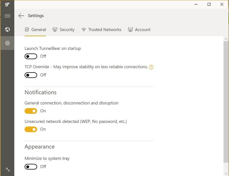 TunnelBear VPN app settings general