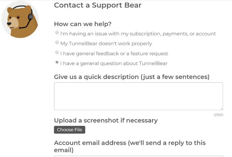 TunnelBear VPN-kontakta subteno2