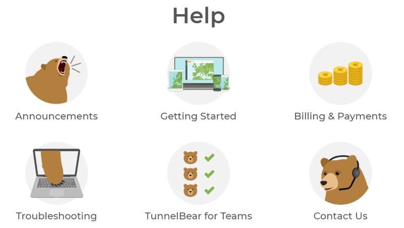 TunnelBear VPN help