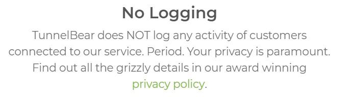 TunnelBear VPN no logging