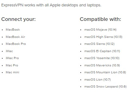 ExpressVPN Mac devices