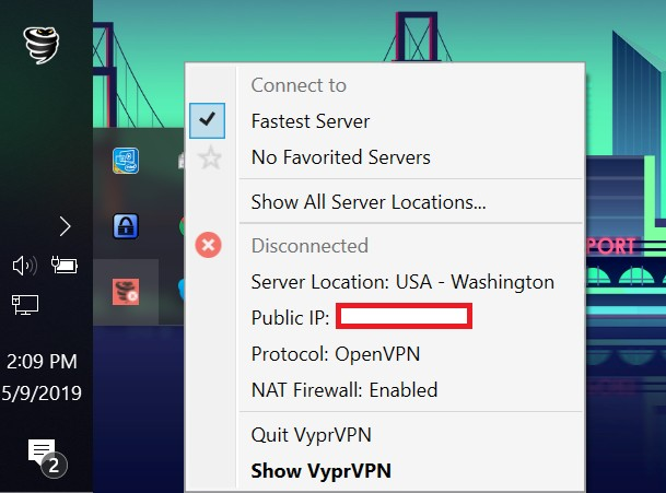 vyprvpn icon tray settings