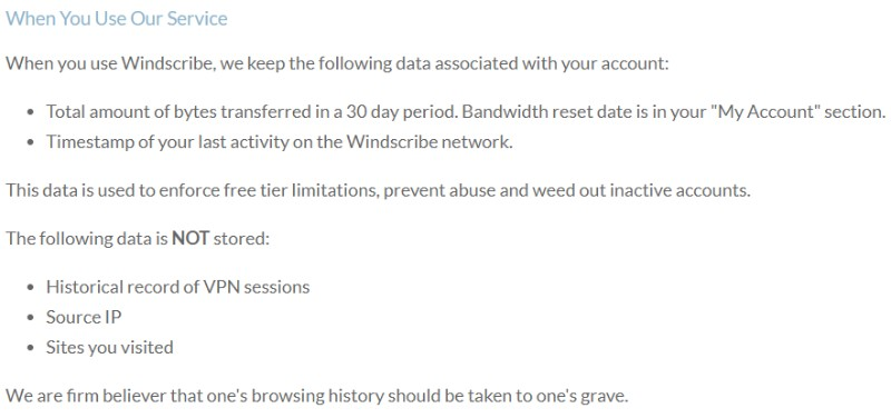 Windscribe no logs Disclaimer