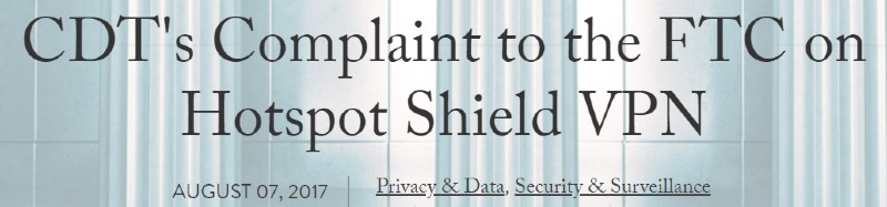 hotspot shield cdt complaint