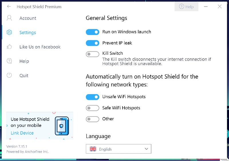 hotspot shield settings