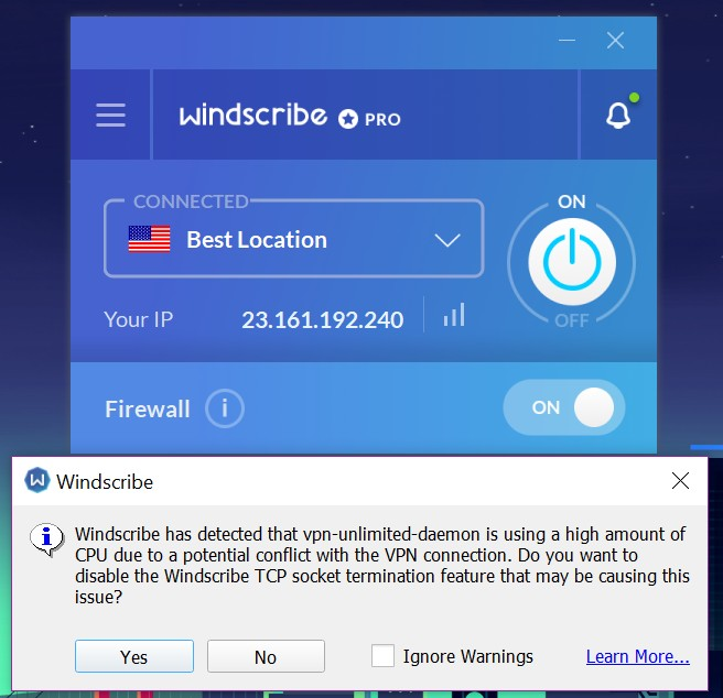 Windscribe app home on