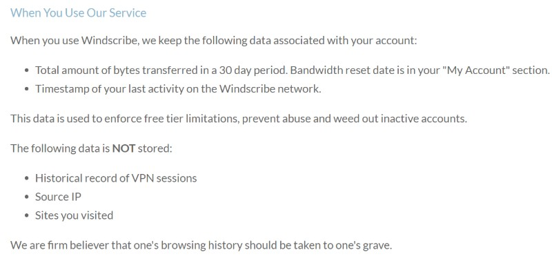 Windscribe log policy