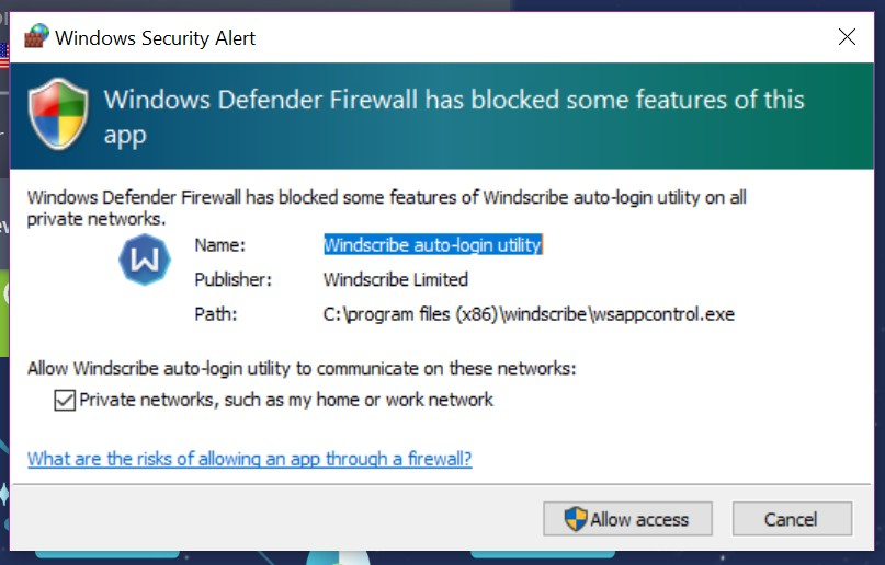 Windscribe windows security alert