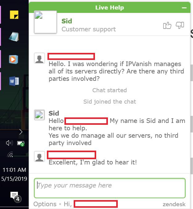 IPVanish chat