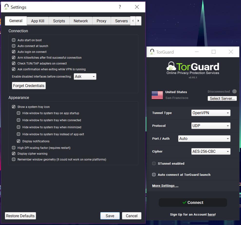 TorGuard app settings