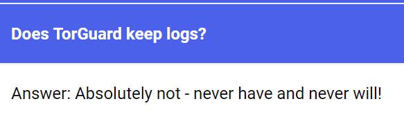 TorGuard no logs