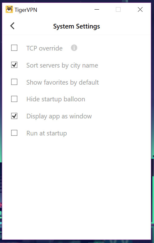 tigervpn app settings system settings