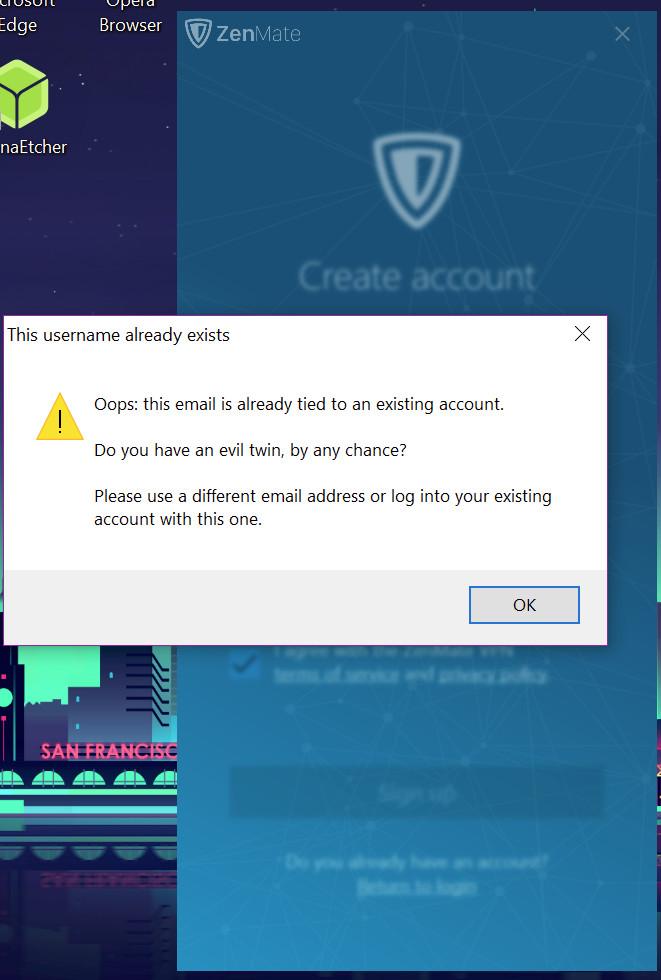 zenmate create account issue