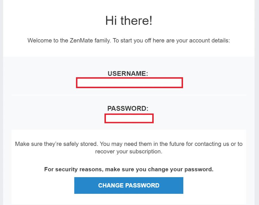zenmate password