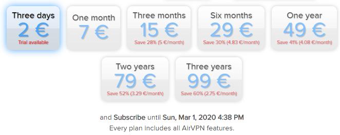 prezo de airvpn